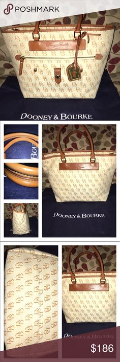"""Dooney and Bourke Amazing Bag This Dooney & Bourke is made of Sturdy Canvas with the Signature DB! Brown Leather rolled handles and trim! Gorgeous! The interior is spotless 1 zip and 1 slip pocket, the exterior has a full size zip pocket and snap picket in front surrounded by brown leather! The bag measures 11 at the base tapering to 16 at the top, 11""""H X 6""""D handle drop is 8"""" comes with dust bag  Dooney & Bourke Bags Shoulder Bags"""