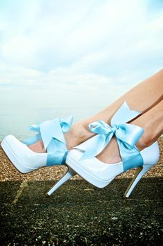 Blue Shoes With Satin Bows Picture & Image | tumblr
