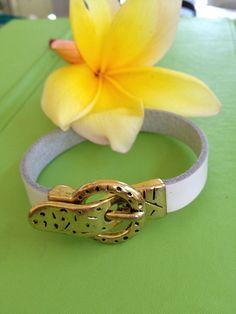 Leather and Buckle Bracelet by joytoyou41 on Etsy, $25.00