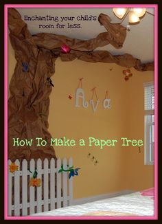 Directions and picture examples of how to make a paper tree.