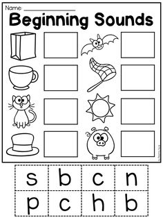 Worksheets for Kindergarten Beginning sounds - Free, quality printable worksheets on beginning sounds. sound activities for preschool children Beginning sounds worksheet for kindergarten children. Kindergarten Addition Worksheets, Beginning Sounds Worksheets, Literacy Worksheets, Printable Preschool Worksheets, Preschool Learning Activities, Home Learning, In Kindergarten, Free Printable, Learning Skills
