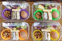 The Completed Protein Box Lunches with Fruit Nuts Cheese Crackers and Hard Boiled Eggs | artfuldishes.com