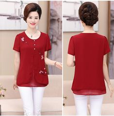 NIFULLAN Fake Two Pieces Women Chiffon Tee Tops Short Sleeve Shirts Summer Plus Size Mother Clothing Casual Loose Pullovers-in Blouses & Shirts from Women's Clothing & Accessories on Aliexpress.com | Alibaba Group