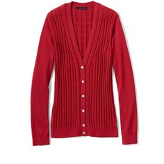 Lands' End Women's Petite Cotton V-neck Cable Cardigan Sweater ($30) ❤ liked on Polyvore featuring tops, cardigans, red, cotton cardigan, red cotton cardigan, petite cardigans, red jersey and red v neck cardigan