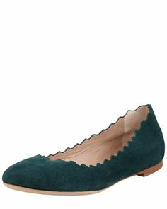 Scalloped Suede Ballerina Flat by Chloe in Prune