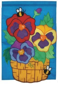 """New in Package Garden Flag 12'x18"""" Basket of Pansies Bees Embroidered Double Sided by A.I.E.. $6.99. Measures 12"""" x 18"""". Nylon Applique. Potted Pansy flowers Embroidered Double Sided Nylon Garden Flag  Bumblebee  12x18""""    Brand new, in the package   Photo shows the  background as blue when it is really a aqua.. the flowers are also more vibrant in color   Water repellent and UV resistant to extend the life and vibrancy of the flag   SATISFACTION GUARANTEED OR YOUR MON..."""