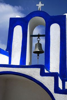 Blue and white closeup of #church in Karterados on #Santorini island #Cyclades