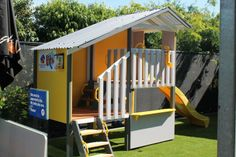 We are so pleased with how the colour scheme turned out on our new Melbourne display Duplex cubby house.  Hope you like it too! kids play outdoors cubby house backyard