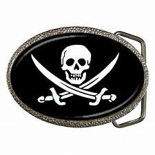 c21f5bf9e469 Flag of the Pirate Caribbean Jack Sparrow Halloween Costume Belt Buckle New!