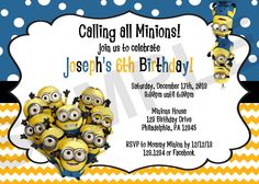 Buzz lightyear mike sully minion birthday invitation minion birthday invitation digital file stopboris Images