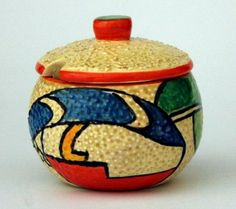 Clarice Cliff 'Bizarre' hand-painted bowl with lid