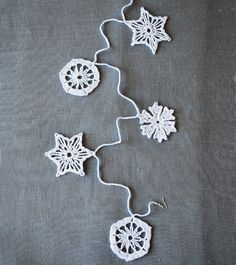 Crocheted Snowflakes as Christmas Garland.