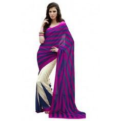 Buy This Saree - http://www.valehri.com/smart-printed-rani-blue-and-cream-georgette-saree-with-jequard-bloue