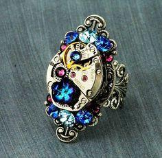 Steampunk Turkey   Steampunk Ring Crystal Steampunk Ring Steampunk Watch Ring Silver ...