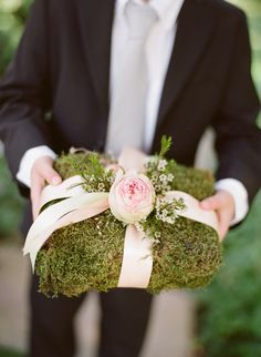 Moss ring bearer pillow with blush satin and garden rose for San Ysidro Ranch Wedding.  Event Design and Planning Magnolia Event Design | Floral Design NLC Productions | Photographer Megan Sorel