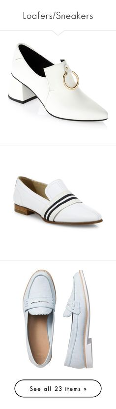 """""""Loafers/Sneakers"""" by sentioinfinitum ❤ liked on Polyvore featuring shoes, loafers, white, leather loafer shoes, loafers moccasins, genuine leather shoes, white leather shoes, white loafers, flats and white flats"""