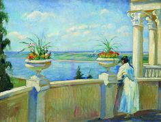 The Athenaeum - Summer Day (Sergei Arsenevich Vinogradov - )rusartnet.com-Born 1869 in Bolshie Soli (Kostroma Province, Russia)painter, graphic artist, illustrator, teacher, studied at Moscow School of Painting, Imperial Academy of arts, lived and worked at Gurzuf in the Crimea, moved to Riga, Latvia opened own private school. died in Riga of pneumonia in 1938