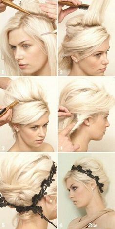 Teased updo for short hair, minus the black headband.