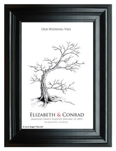 FINGERPRINT GUEST TREE, original Wedding Tree, drawn guest book tree wedding, hand drawn copy of original Tree guest book, 20x24 num.107