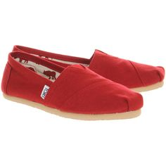 Toms Classic Slip On ($44) ❤ liked on Polyvore featuring shoes, flats, toms, sneakers, red, red espadrilles, toms flats, slip on shoes, red flats and toms espadrilles