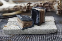 Tiny Black Leather Book Necklace by TrivialityLab on Etsy, $32.00