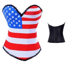 This ones for obama to remind him what country he's in. Overbust Corset Sexy American Flag Corset Fashion Lingerie On Sale Corset Overbust, Corset Bustier, Boned Corsets, Strapless Corset, Corset Tops, Bustier Top, Corset Blouse, Corset Dresses, Corset Underwear