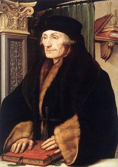Holbein : Desiderius Erasmus (Rotterdam (waarschijnlijk), 28 oktober 1466, 1467 of 1469 – Bazel, 12 juli 1536) was een Nederlandse priester, augustijner kanunnik, theoloog, humanist, schrijver en filosoof. * Kritische uitgave Nieuwe Testament * Adagia:meer dan 4000 citaten en spreekwoorden uit klassieke oudheid * Oprichting Drietalencollege (Leuven): Grieks, Latijn, Hebreeuws
