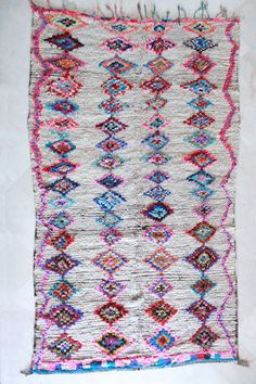 Moroccan boucherouite rug at Pink Rug Co. https://www.etsy.com/listing/192006296/flower-shop-visionary-9x6-boucherouite