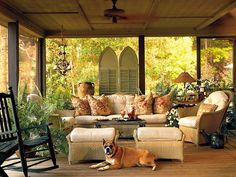 screened porch decorating ideas | screened porch with wicker furniture