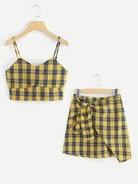To find out about the Checked Cami Top With Asymmetrical Hem Skirt at SHEIN, part of our latest Two-piece Outfits ready to shop online today! Cute Comfy Outfits, Cute Girl Outfits, Teen Fashion Outfits, Cute Summer Outfits, Cute Fashion, Look Fashion, Stylish Outfits, Korean Fashion, Fashion Black