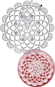 Crochet Mandala + Diagram + Free Pattern Step By Step Crochet Coaster Pattern, Crochet Motif Patterns, Crochet Diagram, Crochet Chart, Crochet Dollies, Crochet Flowers, Crochet Lace, Love Crochet, Unique Crochet