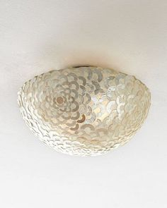H70RZ Capiz Floral Flush-Mount Light Fixture