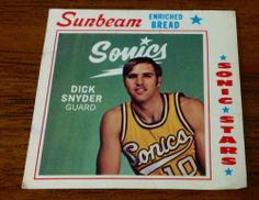 1969-70 Sunbeam Bread Dick Snyder Seattle Sonics NBA Basketball card #SeattleSonics