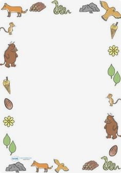 Twinkl Resources The Gruffalo Full Page Borders Thousands of printable primary… Gruffalo Eyfs, Gruffalo Activities, Gruffalo Party, Eyfs Activities, The Gruffalo, Writing Activities, Page Borders Free, Gruffalo's Child, Forest School Activities
