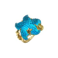 Tagliamonte Marina Collection - Blue Starfish 18K Gold Ring ($2,100) ❤ liked on Polyvore featuring jewelry, rings, accessories, blue, anillos, blue ring, blue jewelry, 18k yellow gold ring, gold jewellery and gold starfish ring
