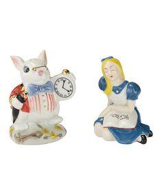 Loving this Alice in Wonderland Alice & Rabbit Salt & Pepper Shakers on #zulily! #zulilyfinds