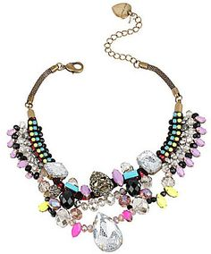 Betsey Johnson Skull & Mesh-Covered Faceted Stone Statement Necklace