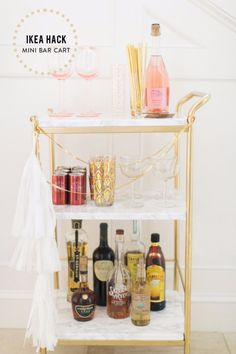Best IKEA Hacks and DIY Hack Ideas for Furniture Projects and Home Decor from IKEA - DIY Mini Bar Cart - Creative IKEA Hack Tutorials for DIY Platform Bed, Desk, Vanity, Dresser, Coffee Table, Storage and Kitchen, Bedroom and Bathroom Decor http://diyjoy.com/best-ikea-hacks