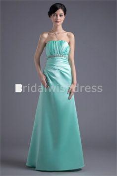 Fall Floor-Length Satin Beading Strapless Long Bridesmaid Dresses #blueeveningdress #fashion #dress #beauty