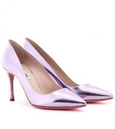 Miu Miu Purple Glitter Sole Patent Leather Pumps
