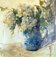 """New Blue Pitcher"" impressionist oil painting by Alabama artist Gina Brown"