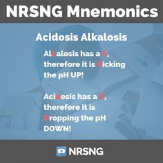 Our newest podcast with over 100 nursing mnemonics Ep9: Acidosis Alkalosis and pH https://www.nrsng.com/acidosis-alkalosis-ph/?utm_campaign=coschedule&utm_source=pinterest&utm_medium=NRSNG&utm_content=Ep9%3A%20Acidosis%20Alkalosis%20and%20pH
