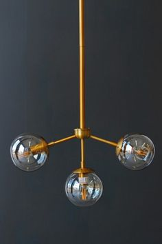 Three Glass Globe Ceiling Light