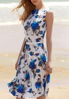 e1b17549d6d7 Blau Blume Druck Audrey Hepburn Stil A-Linie Vintage Knielange Sommerkleid  mit Gürtel Glockenkleid