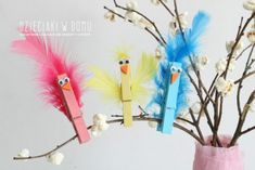 Most Creative Clothespin Uses Spring Activities, Craft Activities, Preschool Crafts, Easy Crafts For Kids, Easy Diy Crafts, Art For Kids, Bird Crafts, Easter Crafts, Puppet Crafts