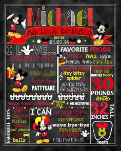 Mickey Mouse Birthday Stat Chalkboard by ccharactercreationss
