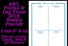 SALE  ARC Filofax and Day Timer 2016 Weekly by OnTaskOnTime