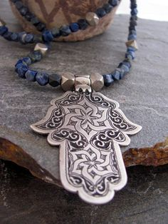 HAMSA ~ Berber Silver Hamza and Lapislazuli Necklace by ArabiaEmporium, Tribal Jewelry, Turquoise Jewelry, Beaded Jewelry, Silver Jewelry, Arabesque, Hamsa Design, Henna, Hand Of Fatima, Hamsa Hand