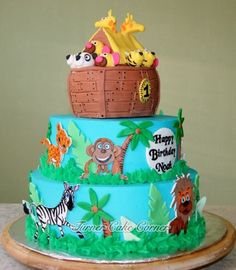 Sail on over for a piece of Noah's Ark Birthday Cake.
