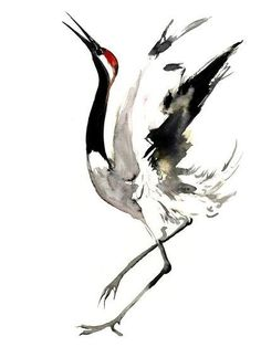 size: Art Print: Japanese Crane 2 by Suren Nersisyan : Exclusive to Artcom Japanese Ink Painting, Sumi E Painting, Japanese Watercolor, Japanese Bird, Japanese Crane, Crane Drawing, Crane Tattoo, Art Et Nature, Photo D Art